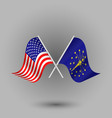 two crossed american and flag of indiana vector image vector image