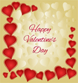 Valentines day gold and red hearts greeting card vector image vector image