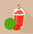 water melon smoothie or juice in plastic glass vector image vector image