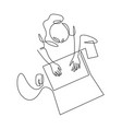woman using laptop top view continuous one line vector image vector image