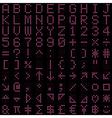 Pink dot digital font and symbol set vector image