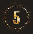 5 years anniversary gold banner vector image vector image