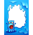 A blue border template with a monster vector image vector image