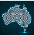 abstract australia map of glowing radial dots vector image