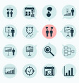 administration icons set collection of co-working