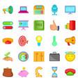 advancement icons set cartoon style vector image