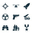army icons set collection of ordnance dangerous vector image vector image