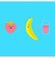 Banana plus strawberry equal fresh glass of juice vector image vector image