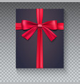 black gift box with red ribbon isolated on vector image vector image