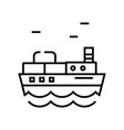 cargo ship line icon concept sign outline vector image vector image