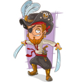 Cartoon pirate with swords and eye vector image vector image