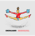 cheerleader jumps and doing splits with pom poms vector image vector image
