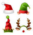 christmas holiday hats santa claus red cute cap vector image