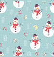 christmas seamless pattern with cute snowman tree vector image