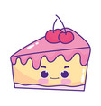 cute food piece cake with fruit sweet dessert vector image