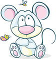 cute mouse sitting isolated on white background vector image vector image