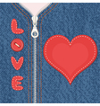 Element of clothes with zipper and heart vector image
