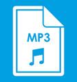 file mp3 icon white vector image vector image