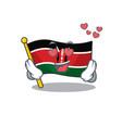 flag kenya mascot in shape character in love vector image vector image