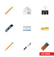 flat icon stationery set of letter paper clip vector image vector image