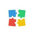 four puzzle teamwork business concept vector image