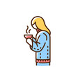 girl with hot drink in mug rgb color icon vector image