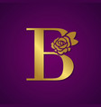 gold letter with rose flower for fashion logo vector image