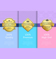 golden labels with crown 100 quality premium set vector image