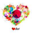grunge heart made from colorful splashes vector image