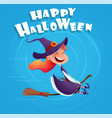 halloween flying little cartoon witch vector image vector image