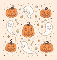 halloween set with orange pumpkins ghosts bones vector image