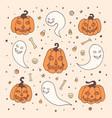 halloween with orange pumpkins ghosts bones vector image