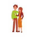 happy couple positive pregnancy test result flat vector image