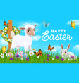 happy easter holiday poster with rabbit and sheep vector image vector image
