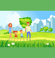 happy family walking vector image vector image
