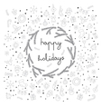 happy holidays items and sybmol icons card vector image