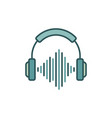 headphones with sound wave colored icon or design vector image vector image