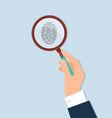human hand held magnifying investigate fingerprint vector image vector image