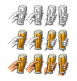 man and woman hands holding clinking with beer vector image vector image