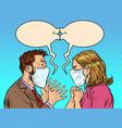man and woman in medical masks kiss vector image vector image