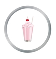 Milkshake with cherry on the top icon in cartoon vector image
