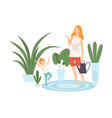 mother and her son watering houseplants family in vector image vector image