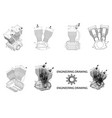 motorcycle engine drawing vector image vector image