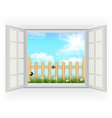 Open window with Spring background vector image vector image
