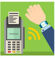 paying bill transferring money trough smart watch vector image