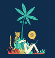 person works laptop palm tree freelance vacation vector image