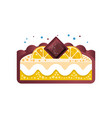 piece of layered delicious lemon cake with vector image vector image