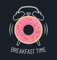 pink glazed donut and alarm clock vector image