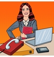 Pop Art Business Woman at Office Work with Laptop vector image