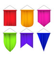 realistic detailed 3d sport pennants flags set vector image